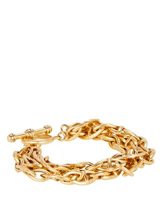 Triple Threat Chain-Link Bracelet, GOLD, hi-res