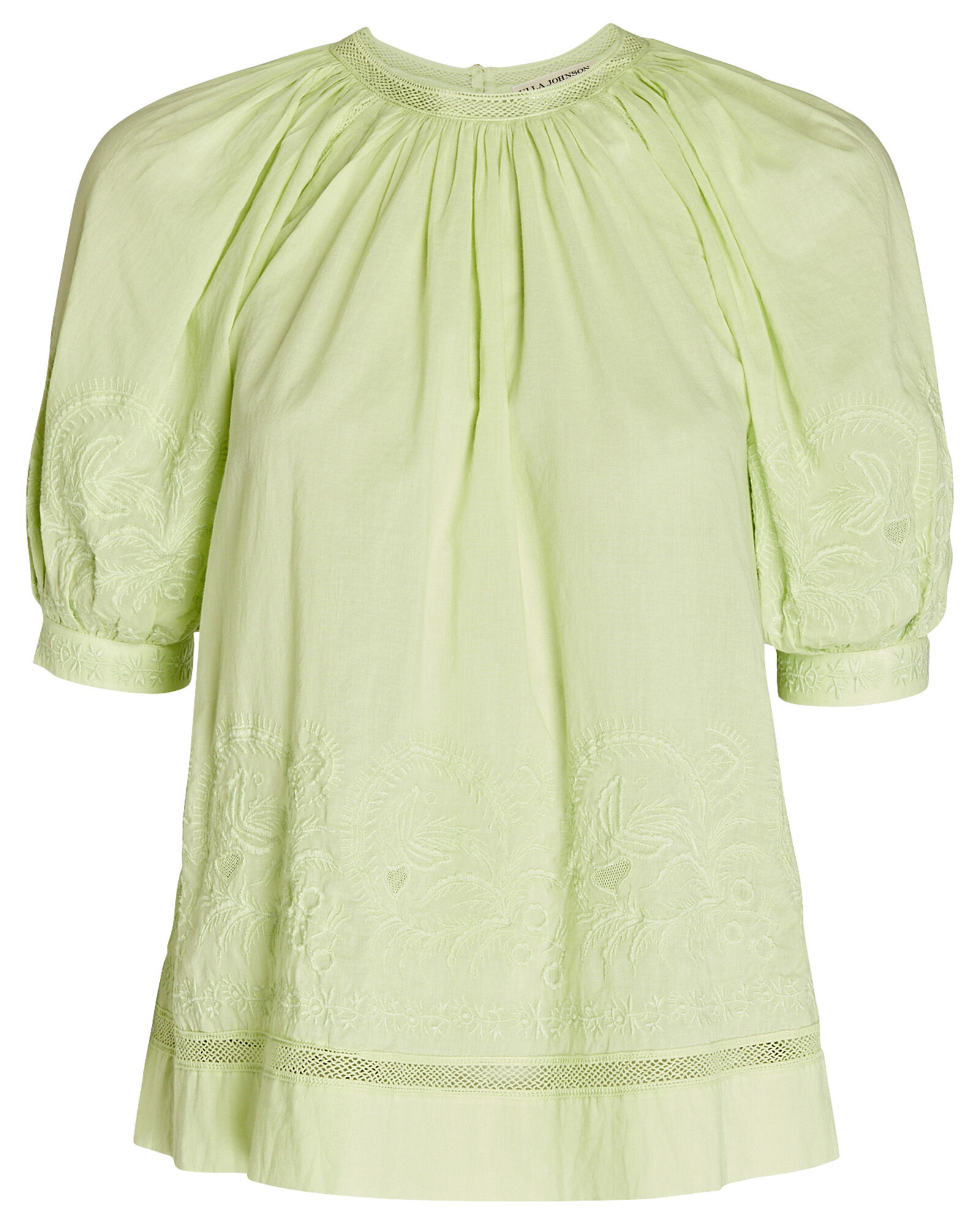 Blythe Embroidered Cotton Top, GREEN-LT, hi-res