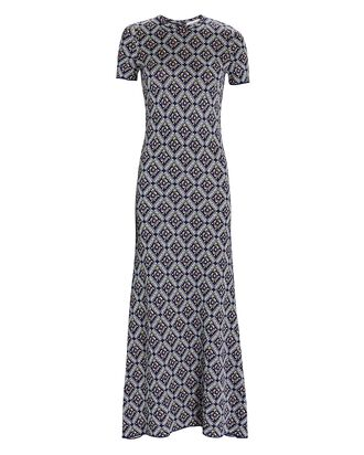 Floral Knit Jacquard Midi Dress, NAVY, hi-res