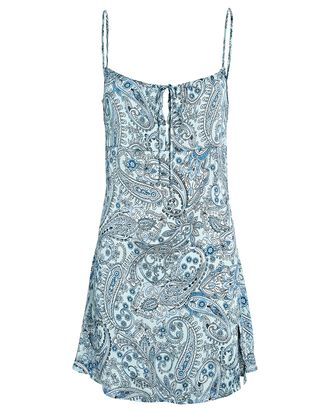 Leoni Paisley Silk Slip Dress, BLUE, hi-res