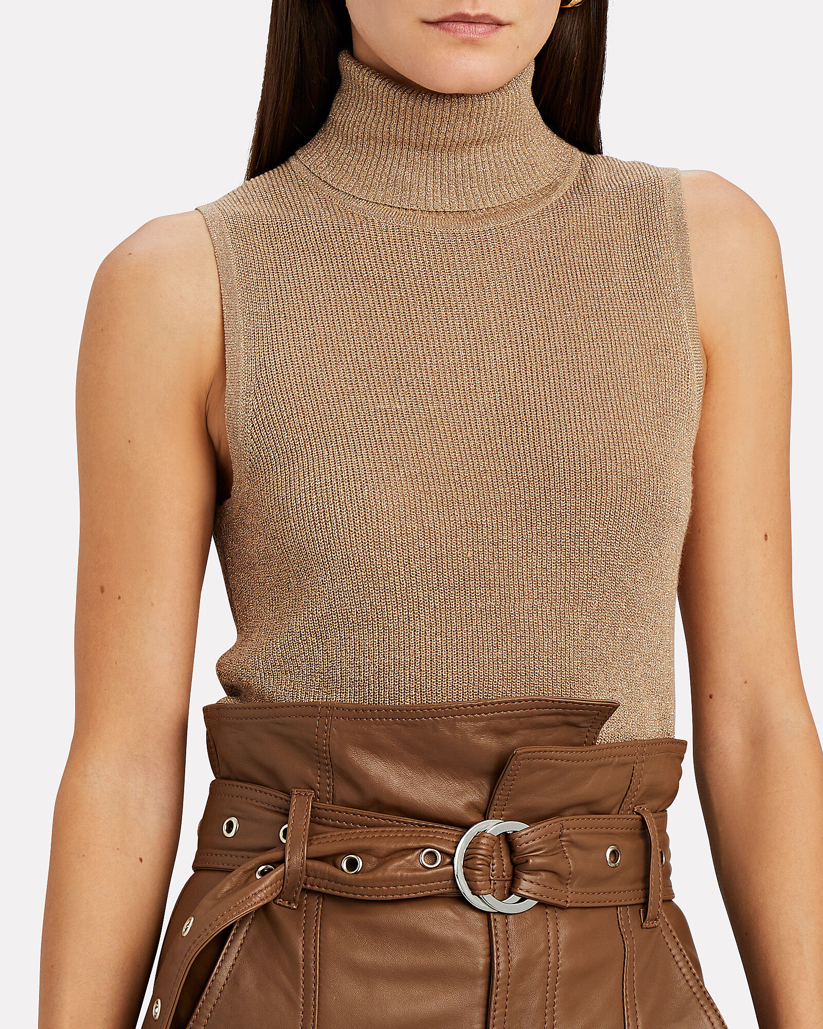 Sabrina Lurex Sleeveless Turtleneck Top, BEIGE, hi-res