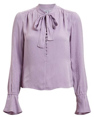 Snake Jacquard Blouse, PURPLE-LT, hi-res