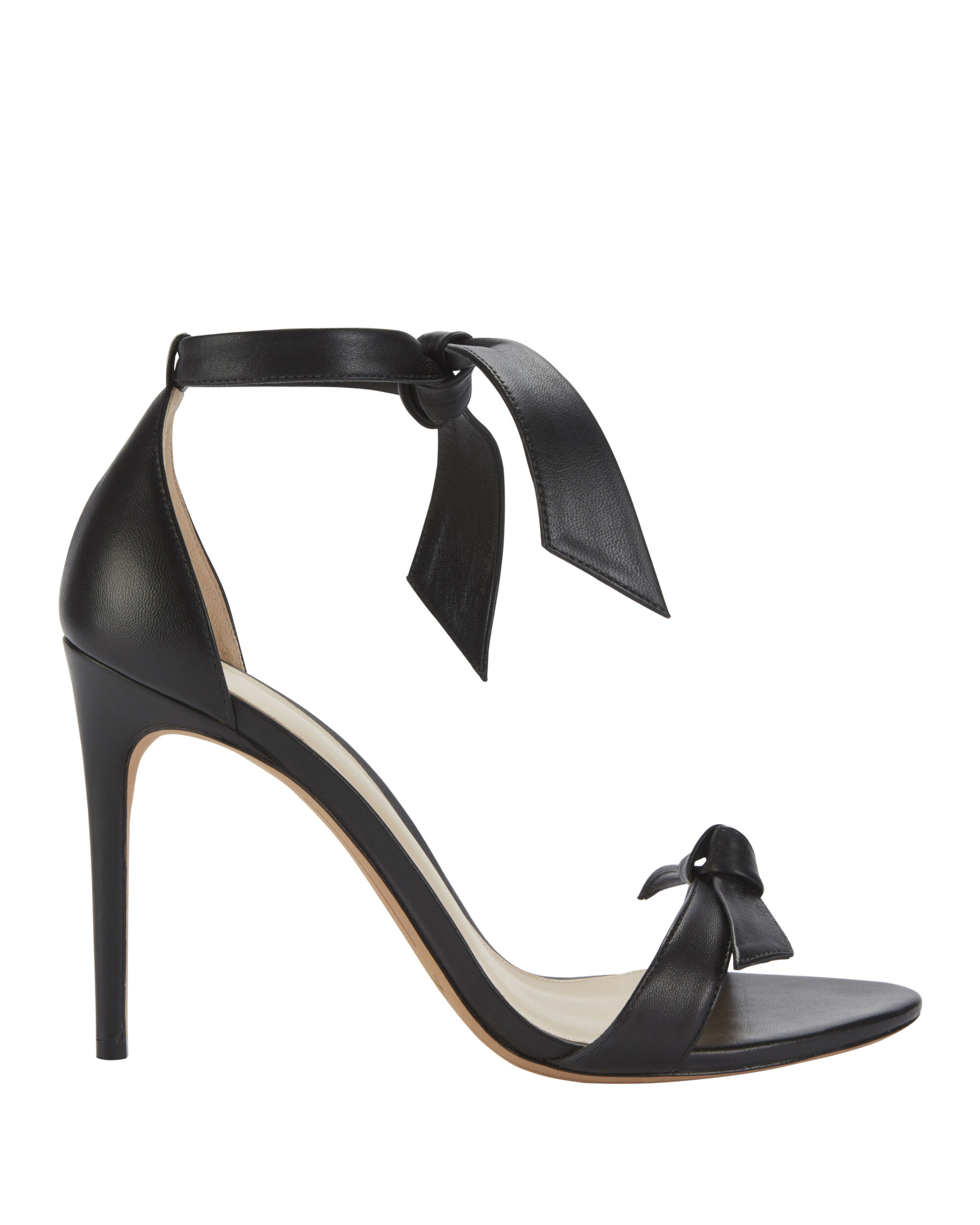 Clarita Double Bow Black Leather Sandals, BLACK, hi-res