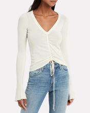 Ruched Tie Front Knit Top, WHITE, hi-res