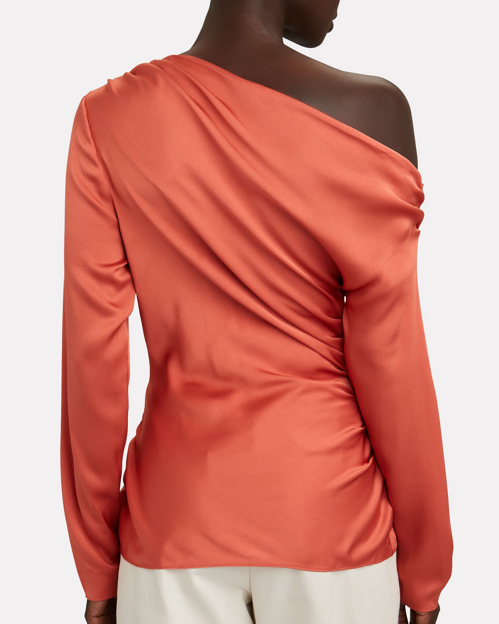 Blake Satin One-Shoulder Top, ORANGE, hi-res