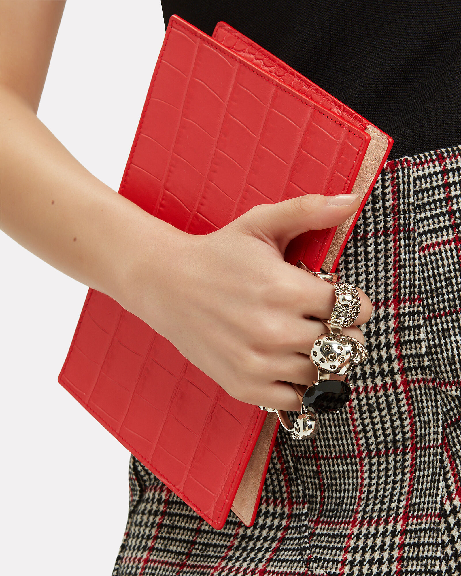 Skull Four Ring Embossed Clutch, RED, hi-res