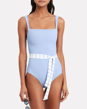 Betty One Piece Swimsuit, BLUE, hi-res