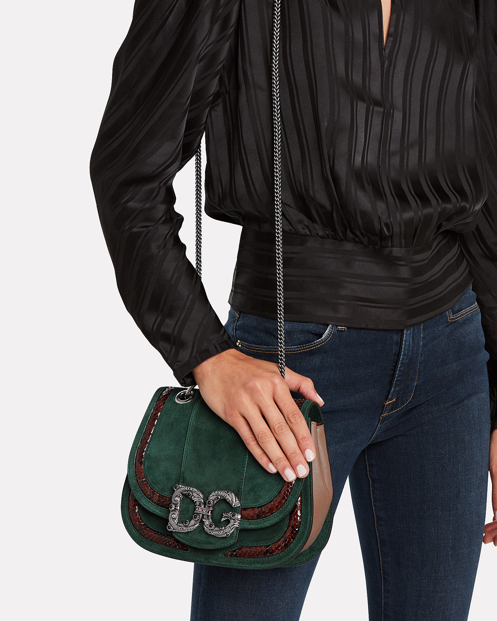 Suede & Python Saddle Bag, GREEN, hi-res