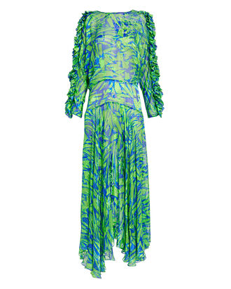 Karen Satin Devore Dress, GREEN/BLUE, hi-res