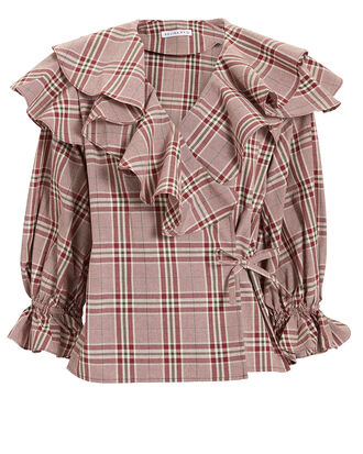 Camila Wrap Blouse, RED, hi-res