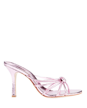 Rina Snake-Embossed Sandals, METALLIC LILAC, hi-res