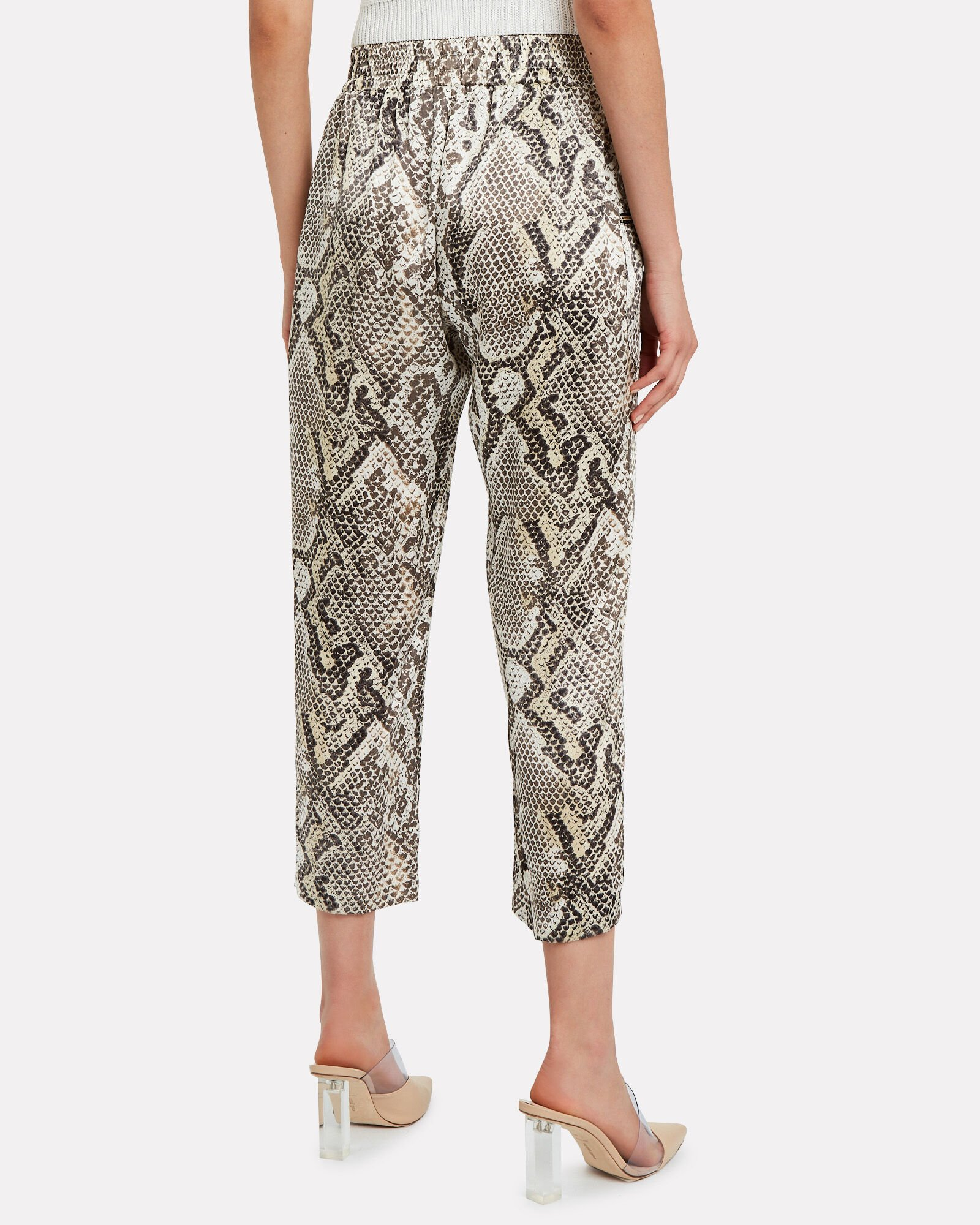 Leigh Tapered Silk Python Pants, MULTI, hi-res