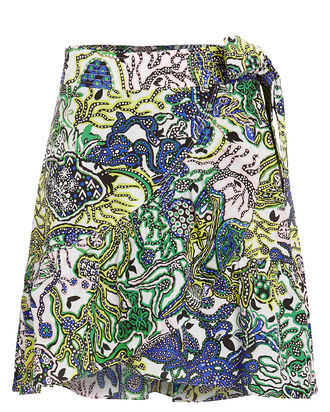 Hampton Ruffled Cotton & Silk Skirt, BLUE/GREEN, hi-res