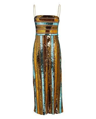 Stargaze Striped Sequin Midi Dress, MULTI, hi-res