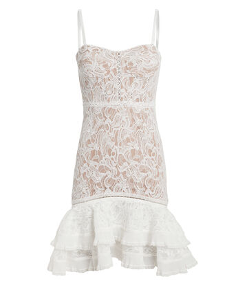 Multimedia Corded Lace Mini Dress, WHITE, hi-res