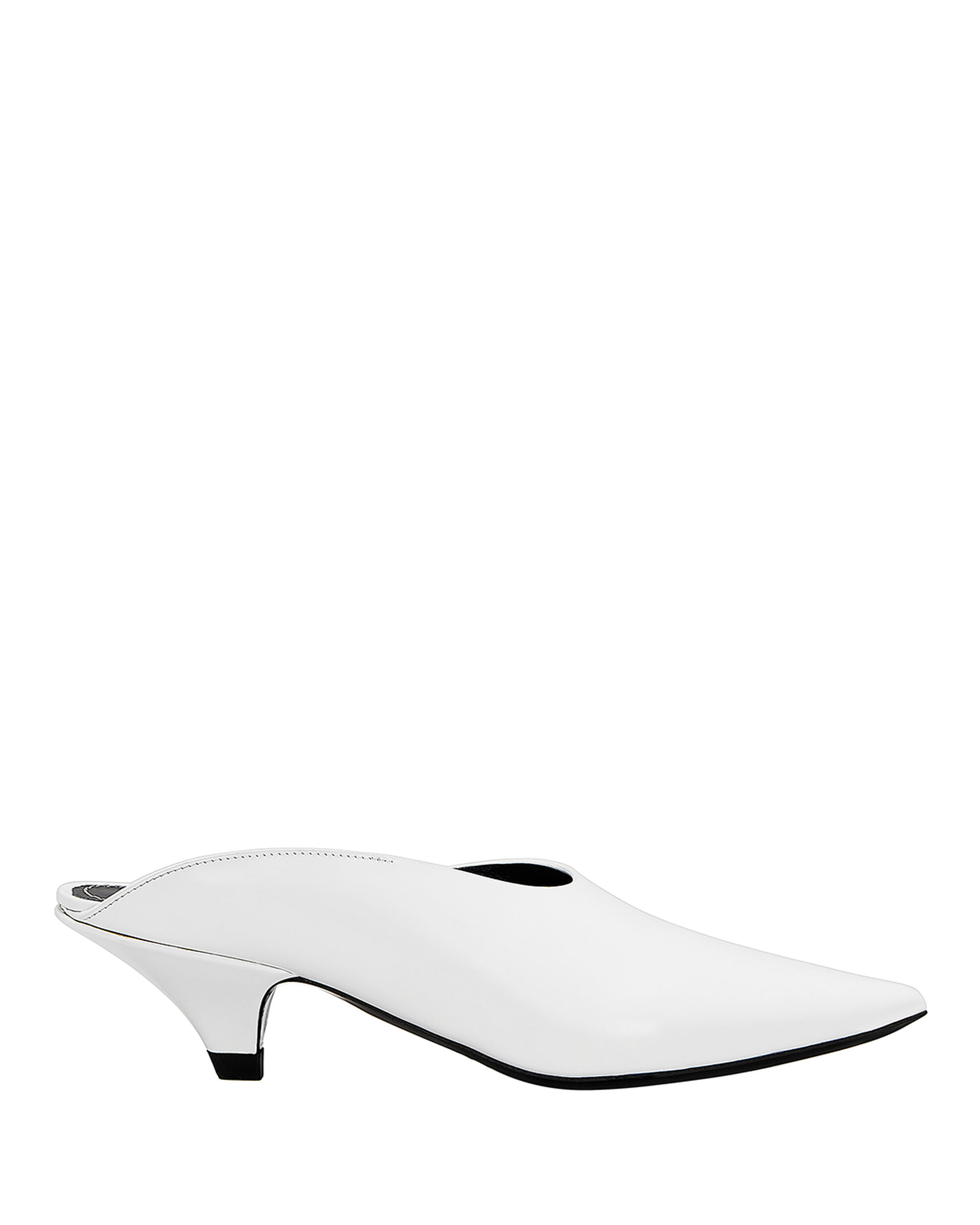 Pointed White Mules, WHITE, hi-res
