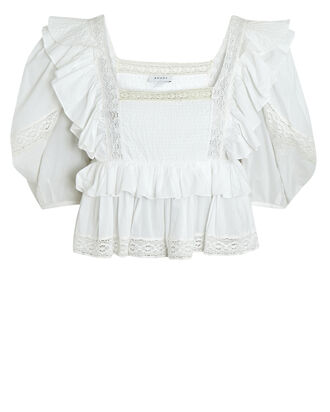 Charlotte Ruffled Puff Sleeve Top, WHITE, hi-res