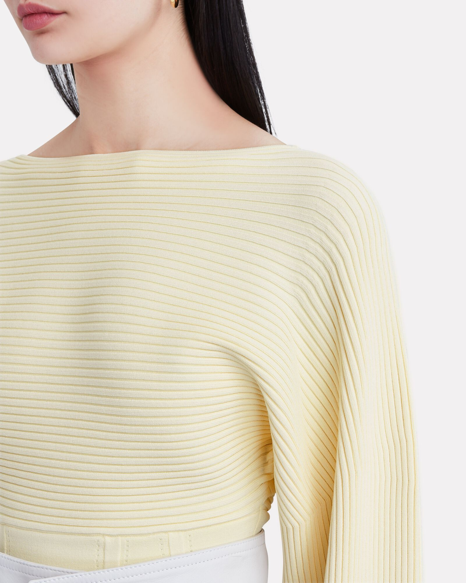 Ottoman Boat Neck Corset Sweater, PALE YELLOW, hi-res