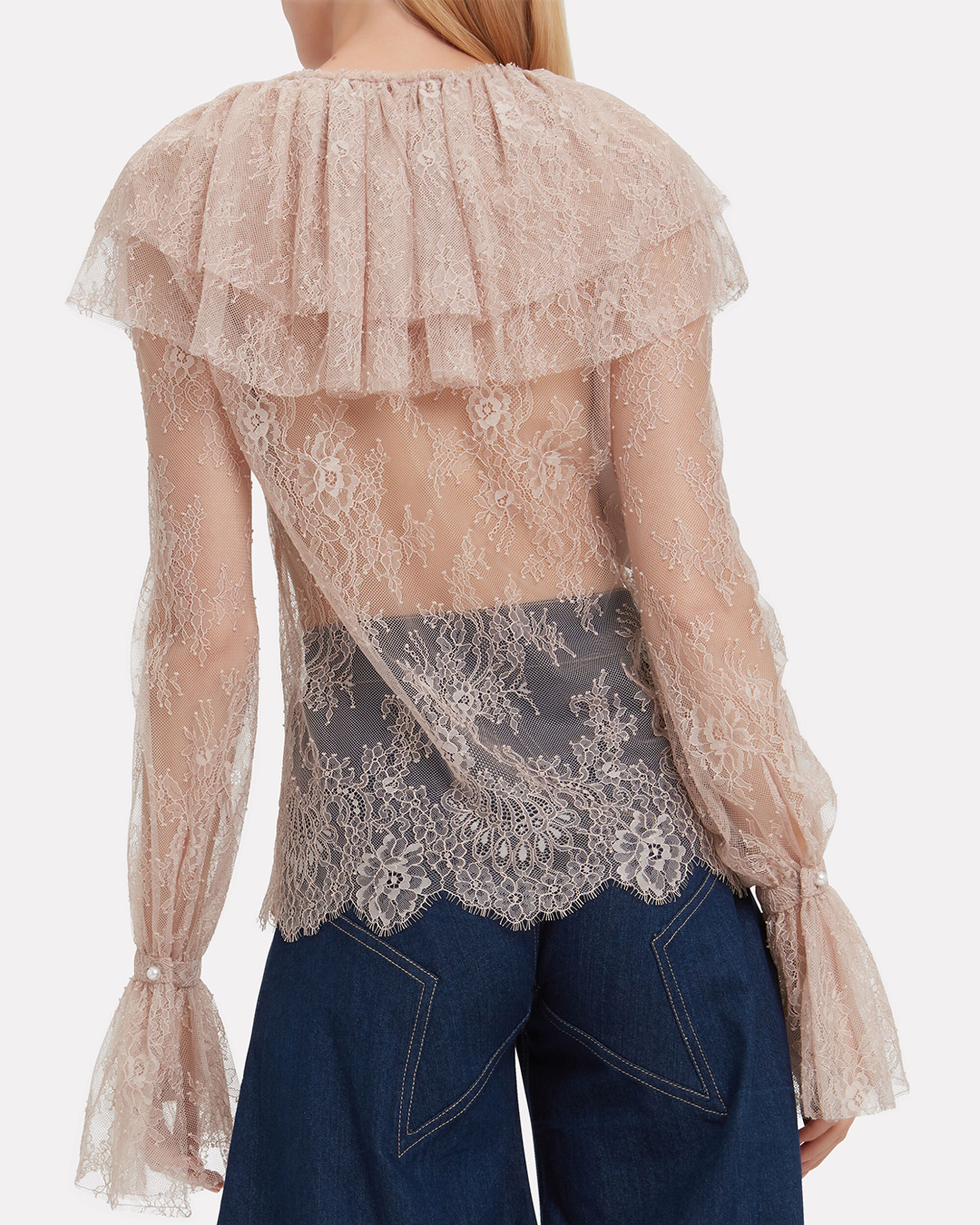 Lace Ruffle Top, BLUSH, hi-res