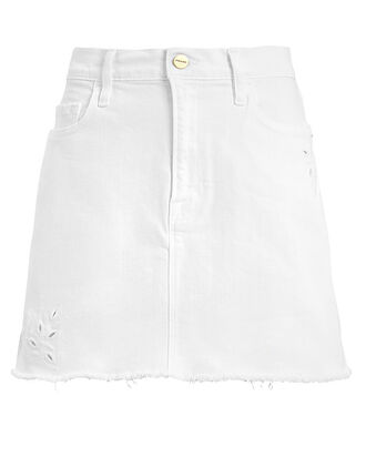 Le Mini Foliage Embroidered Denim Skirt, WHITE, hi-res