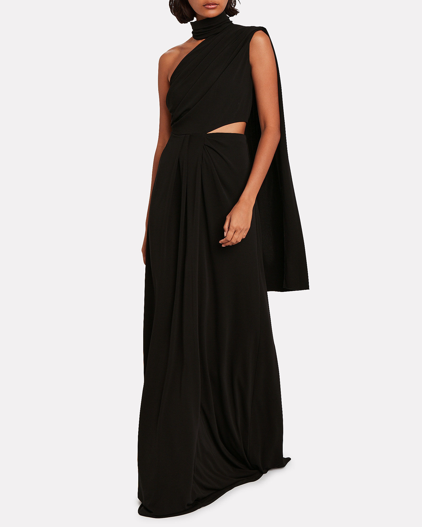 Honey Crepe Cut-Out Gown, BLACK, hi-res