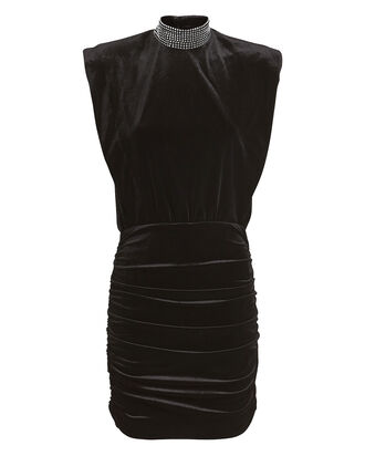 Nillie Velvet Mini Dress, BLACK, hi-res