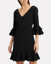 Dominique Ruffle Mini Dress, BLACK, hi-res