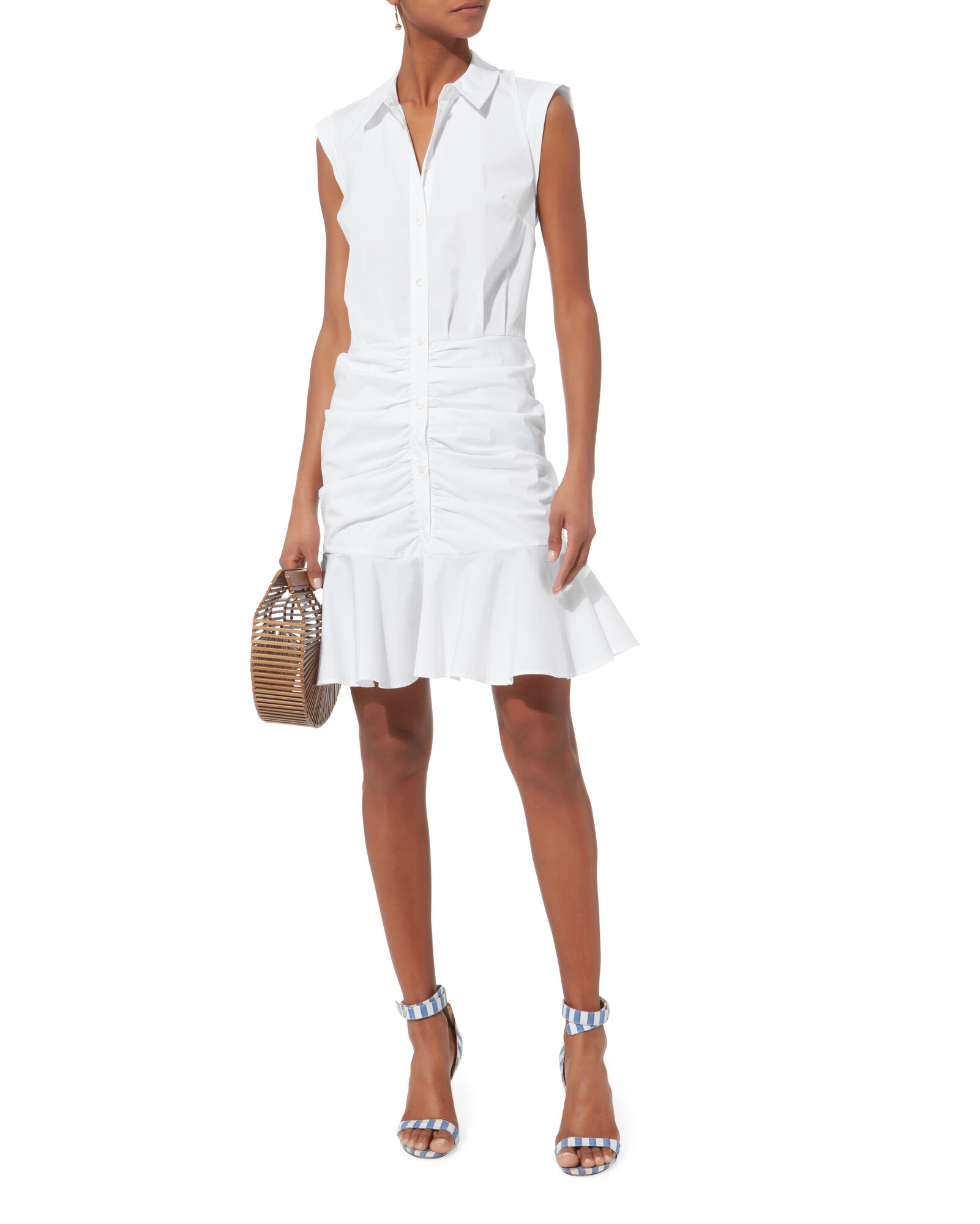 Bell Ruched Shirt Dress, WHITE, hi-res