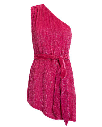 One Shoulder Sequin Mini Dress, FUCHSIA, hi-res