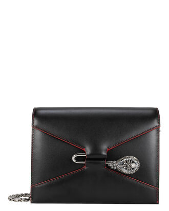 Pin Jewel Chain Strap Shoulder Bag, BLACK, hi-res