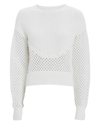 Claudine Open Knit Sweater, IVORY, hi-res