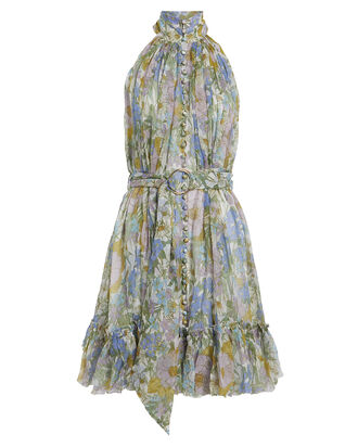 Floral Silk Chiffon Mini Dress, PALE BLUE FLORAL, hi-res