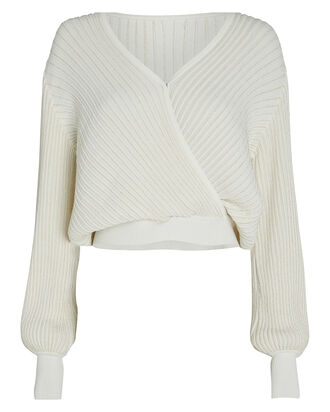 Vera Lurex Wrap Sweater, IVORY, hi-res