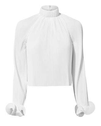 White Pleated Crop Top, WHITE, hi-res