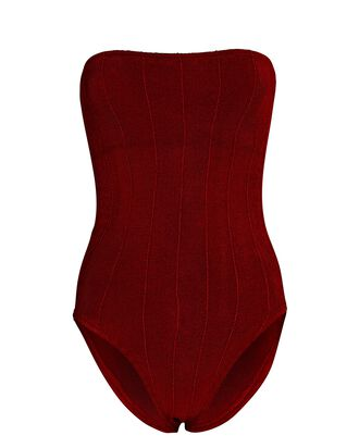 Audrey Nile Strapless One-Piece Swimsuit, BURGUNDY, hi-res