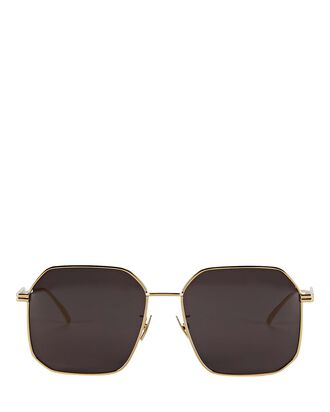 Wire Rounded Square Sunglasses, GOLD, hi-res