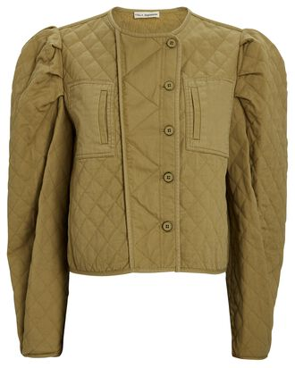 Arlo Quilted Puff Sleeve Jacket, OLIVE, hi-res