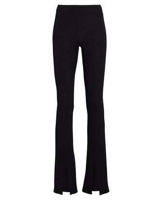 Damien Split Hem Rib Knit Pants, BLACK, hi-res