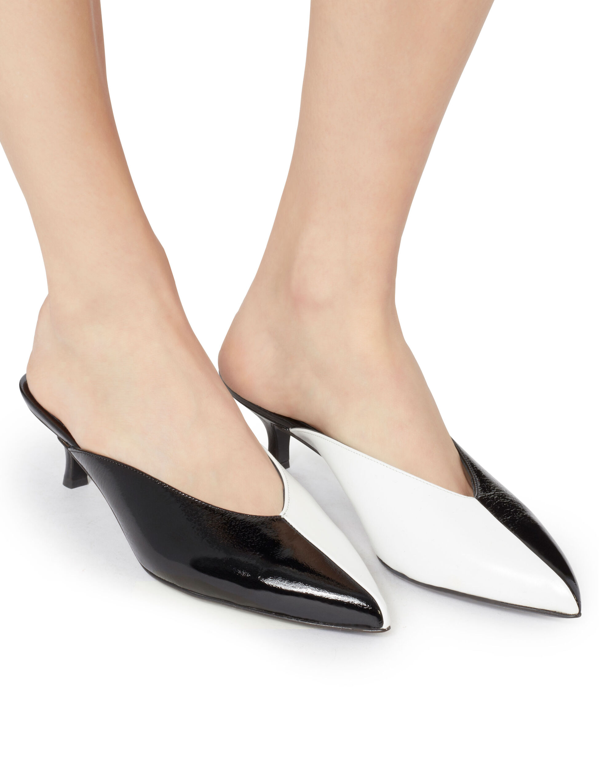 Frank Black And White Patent Leather Mules, BLACK, hi-res