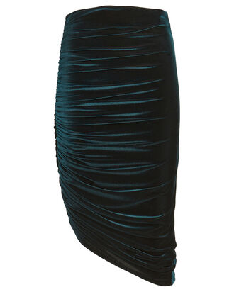 Langston Ruched Velvet Midi Skirt, BLUE-DRK, hi-res