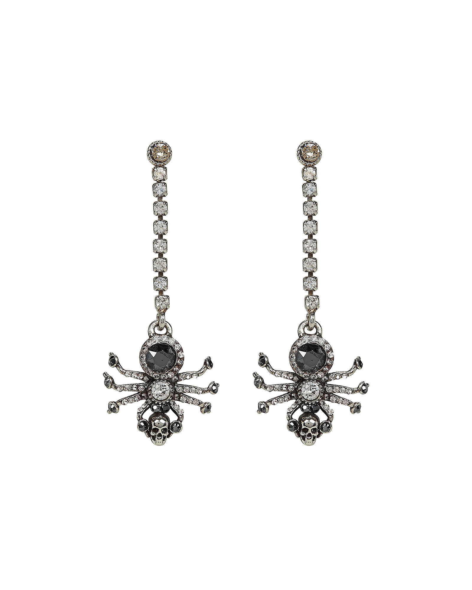 Spider Crystal Chain Earrings, SILVER, hi-res