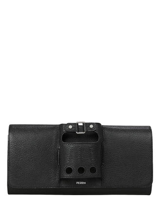 Cabriolet Glove Leather Clutch, BLACK, hi-res