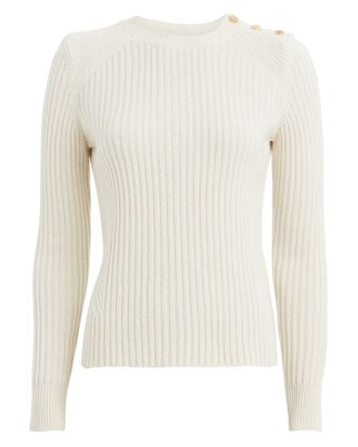 Beatrix Rib Knit Wool-Cashmere Sweater, IVORY, hi-res