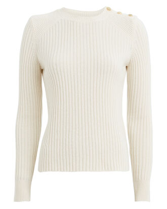 Beatrix Ribbed Wool-Cashmere Sweater, IVORY, hi-res