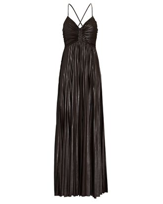Ariya Pleated Faux Leather Gown, BROWN, hi-res
