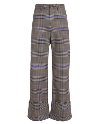 Rowan Cuffed Plaid Trousers, TAUPE/PLAID, hi-res
