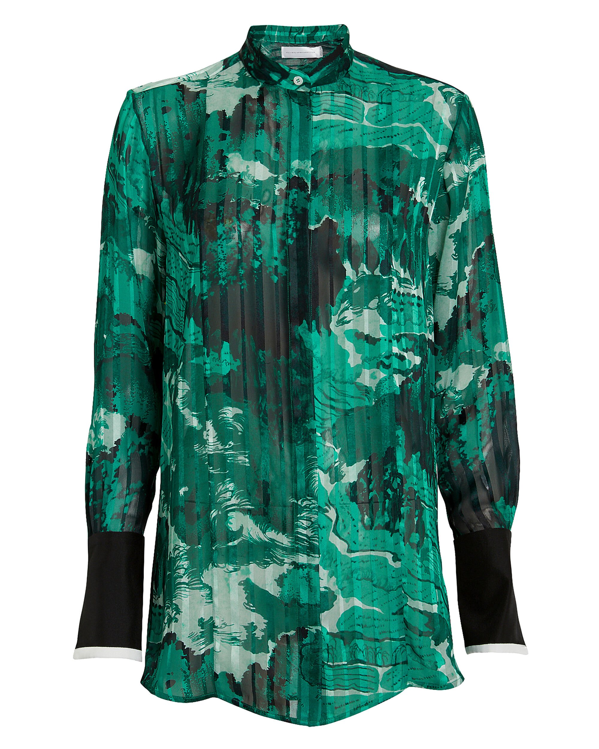 Mixed Print Grandad Shirt, GREEN, hi-res