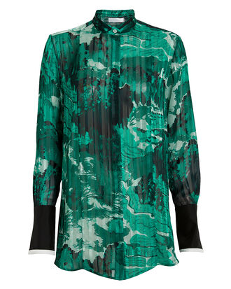 Mixed Print Grandad Shirt, GREEN/BLACK, hi-res