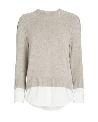 Eton Layered Looker Crewneck Sweater, LIGHT GREY, hi-res