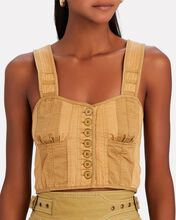 Jesse Military Suiting Bustier Top, GREY-LT, hi-res